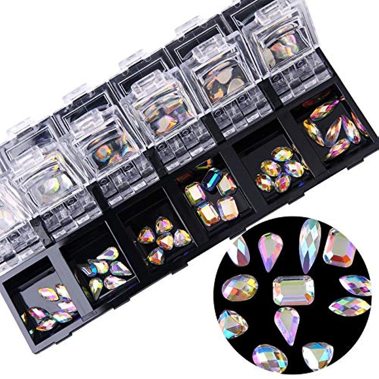 ロードされたロバ発疹1ボックスシルバーフラットバックネイルアートホログラフィックラインストーンジュエリーabクリスタルダイヤモンドジェルのヒントデコレーションケース