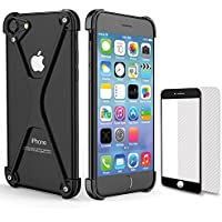 Apple iPhone 8ケース、iPhone 8のバンパー、超薄型Apple iPhone 8のバンパーケースiPhoneの7/8(2017)OATSBASFのためのアルミメタルフレームカバー[2つの追加のプロテクター] [サポートワイヤレス充電] (iPhone 7/8, 黒2)