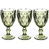 Red Wine Glasses Set of 3 10 Ounce Wedding Party Colored Glass Goblets Embossed Design Glassware (Green)