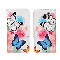 Samsung Galaxy S7 Edge CaseJinLi Printed Pattern Filio Wallet Cellphone Book Protective Cover Designed with Credit Card Slot and Money Holder and Kickstand for Hands Free video (color butterfly) [並行輸入品]