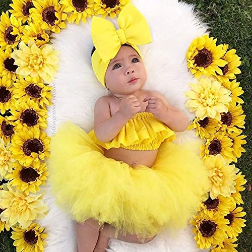 mlpeerw 3Pcs Newborn Baby Girl Outfits Clothing Kids Cute Ruffle Tube Top+Tulle Tutu Skirt Dress with Headband - Yellow - 12-18 Months