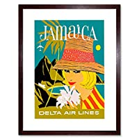 Travel Ad Vintage Woman Holiday Jamaica Tourism Framed Wall Art Print