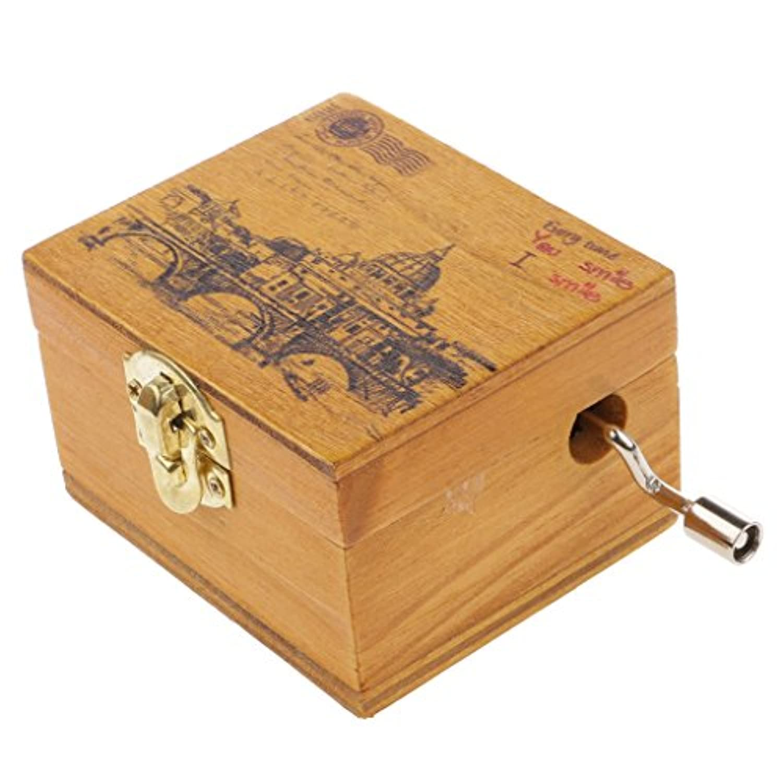 baosityミニチュア景色木製hand-cranked音楽ボックスCastle in the Skyランダムモデル