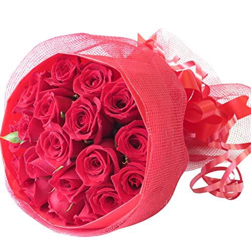 お急ぎ便 バラ 花束 誕生日 プレゼント 女性 花 キュートでかわいい赤薔薇の花束 サンモクスイの手作り (赤バラブーケ 最短でお届け)