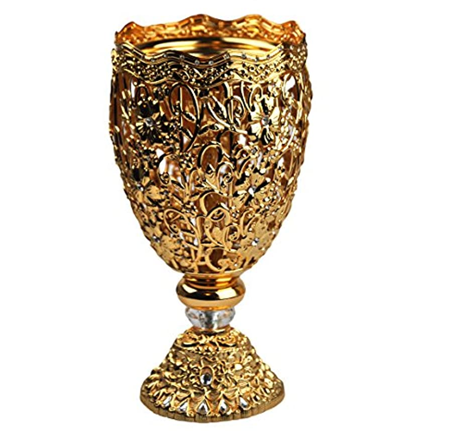 うなずくアトラス欠陥Arabia Incense / bakhoor Burner ( Mabkhara ) – Oud Burner、ゴールドメタル、トレイ内側10インチ。 – USA Seller