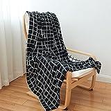 Homehalo  ブランケット 毛布 ニット 軽くあったか 柔らかや ベッドスロー 綿 ベッド ソファー用  オフィス用 ひざ掛け 無地 フリンジ ストール 大判 130cm*160cm (ダーク)