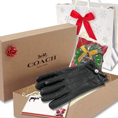 クリスマス ギフトセット コーチ 手袋 COACHコーチ アウトレット ターンロック ボウ レザー グローブ 手袋 F55189 BLK (7.5)