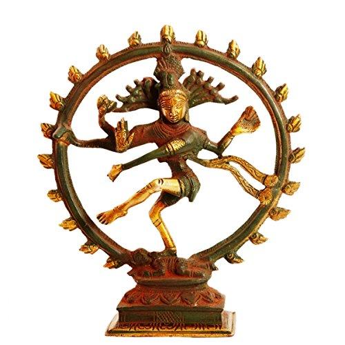 Purpledip真鍮Statue Nataraja ( Shivaシヴァ神でダンス) : Rare銅グリーンアンティーク仕上げのホームTemple Mandir Showpiece ( 11095?)