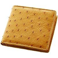 オーストリッチ レザー 折り財布 二つ折り : チェスナット