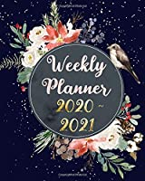 Weekly Planner 2020 - 2021: Jan 2020 - Dec 2021 Two Year Weekly Daily Planner with To Do List to Achieve Your Goals: Cute Bird Flowers and Snowfall, Navy Blue
