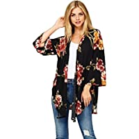 Gillberry Women's Jacket Women's Tops Floral Loose Cover Up Shirt Blouse