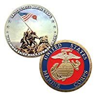 アメリカ海兵隊Iwo Jima Colorized Printed Challenge Coin
