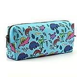 LParkin Dinosaur Canvas Pencil Case Pen Bag Pouch Stationary Case Makeup Cosmetic Bag (Blue)