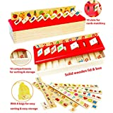 Toys of Wood Oxford Wooden Sorting Box with Sorting Lid 8 Categories - Wooden Sorting Toys -Early Learning Center Wooden Toys for 1 Year Old