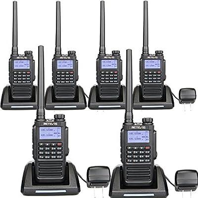 Retevis RT87 Two Way Radios IP67 Waterproof 128 Channels VOX Scan Security Long Range Walkie Talkies (Black,6 Pack) with FM Function
