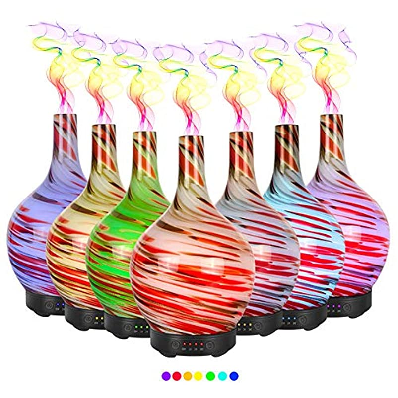 エッセンシャルオイル用ディフューザー (100ml)-3d アートガラス油絵アロマ加湿器7色の変更 LED ライト & 4 タイマー設定、水なしオートシャットオフ
