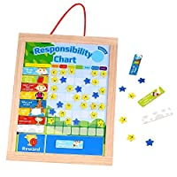 Timy Wooden Rewards Chore Chart Responsibility and Behavior Star Chart Magnetic Board for Kids [並行輸入品]