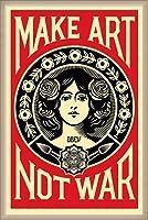 ポスター オベイ Male Art Not War/Shepard Fairey 手書きサイン入り 額装品 ウッドベーシックフレーム(オフホワイト)