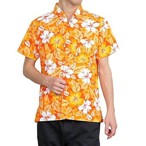 【第一弾】 OKI(オキ) アロハシャツ フリーサイズ ユニセックス カラフル ダンス 衣装 イベント メンズ レディース (XL, アロハオレンジ)