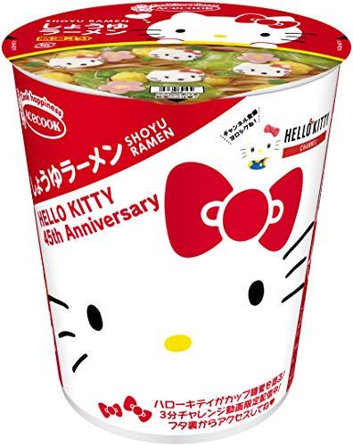 エースコック ハローキティ45周年お祝いカップ麺 しょうゆラーメン 52g ×12個