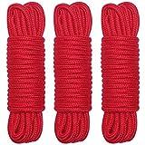 SMロープ ソフトツイスト綿ロープ SM拘束ロープ 縄3PCSロープ 太さ8mm×10m 赤