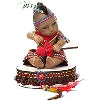 NPKDOLLリボーンベビードールインドスタイルブラックスキン11インチ 28センチメートルハードシリコーンビニール防水少年少女の玩具ドラム 人形 Reborn Baby Doll A1JP