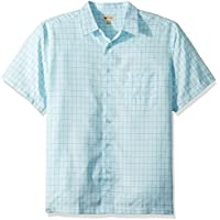 Haggar Mens 555016 Men's Short Sleeve Microfiber Woven Shirt Short Sleeve Button-Down Shirt