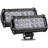 CooAgo LEDワークライト 36W 広角タイプ(60度) 6000K IP67防水 CREE製 10-30VDC対応 12V/24V兼用 LED 作業灯 汎用 防水 耐震 車外灯 農業機械 角形 ホワイト ( 2個セット、1年保証 )