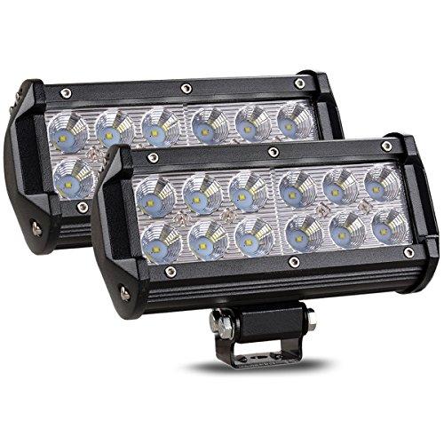 CooAgo LEDワークライト 36W 広角タイプ(60度) 6000K IP67防水 CREE製 10-30VDC対応 12V/24V兼用 LED 作業灯 汎用 防水 耐震 車外灯 農業機械 角形 ホワイト (2個セット、1年保証)
