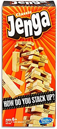 JENGA - Classic Wooden Block Stacking Tower Game - 1+ Players - Adult, Family Board Games and Toys for Kids -