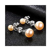 S 925天然淡水真珠のイヤリングマイクロセット3Aジルコン韓国語バージョンの野生の気質の女性のイヤリング,ピンク-4C03,フォーク