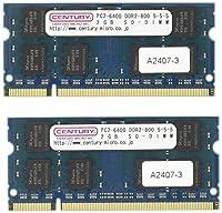 センチュリーマイクロ アップル用 PC2-6400/DDR2-800 SODIMM 4GBキット(2GB 2枚組) 日本製 CK2GX2-SOD2U800M
