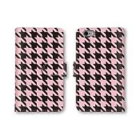 【ノーブランド品】 Galaxy S6 SC-05G スマホケース 手帳型 千鳥模様 千鳥格子 千鳥柄 ピンク ブラック 黒 かわいい おしゃれ 携帯カバー SC-05G ケース ギャラクシー