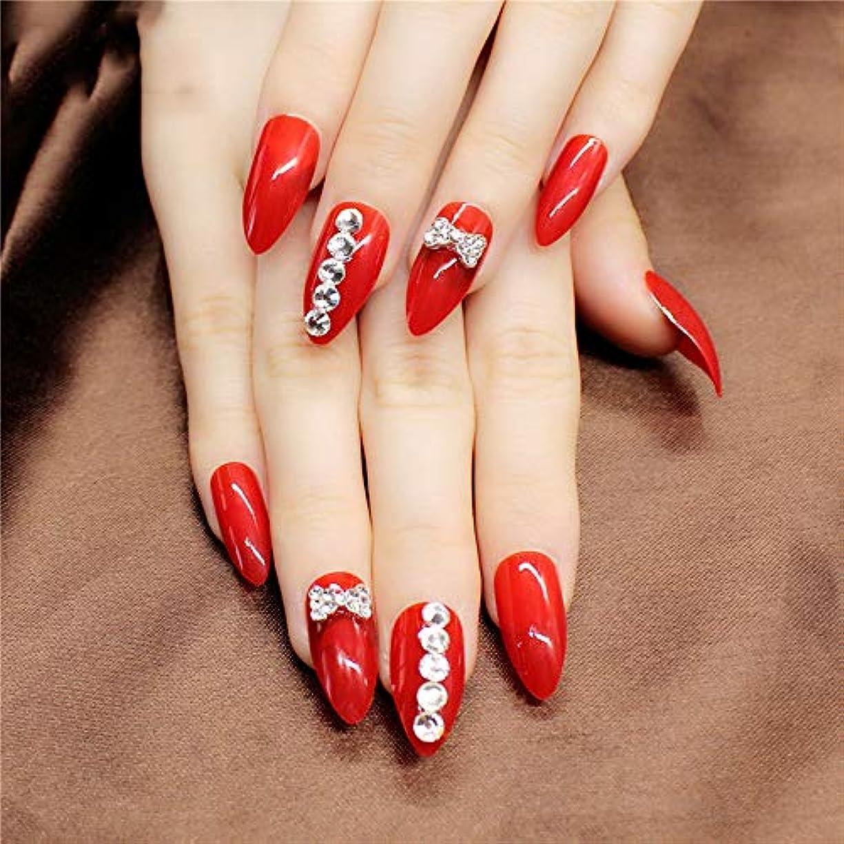 お母さんフェミニン木XUTXZKA 24本/箱赤いスティレット偽の爪の石のパターンは指のための暗い光沢のある長押しを指摘