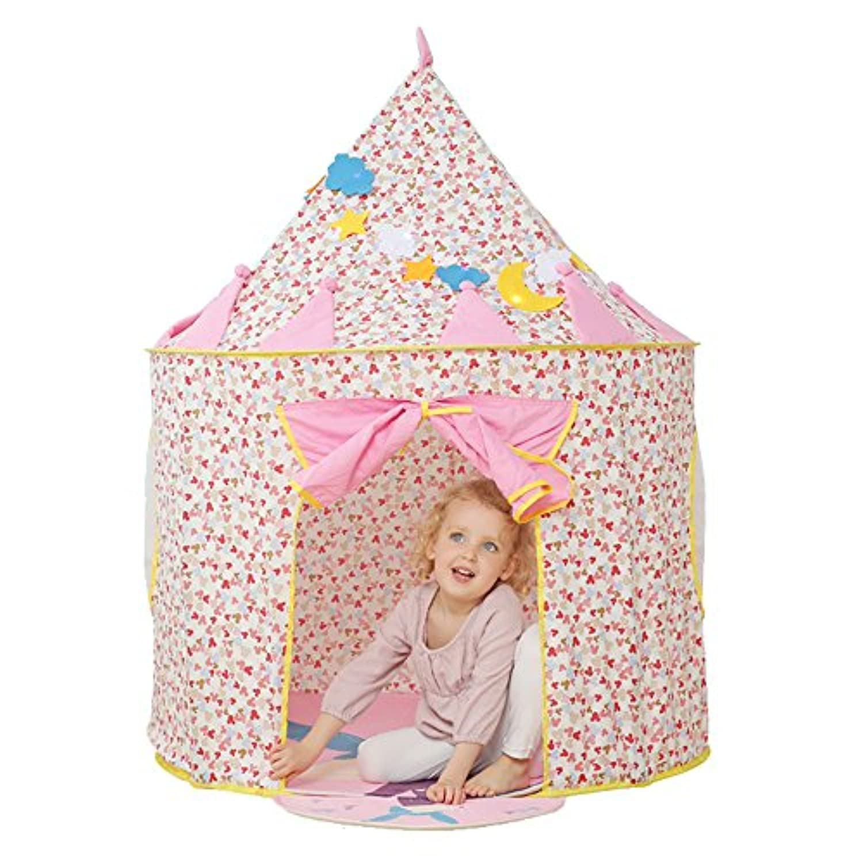 Children Play Tent – Kids Fairy Castle Playhouse Pop Upテントby Wonderスペース, Comes withポータブルキャリーケース、理想的なインドア&アウトドアおもちゃfor Babies Girls Boys Nursery (ピンク)