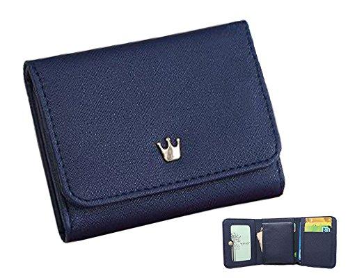 【Vierge】とってもコンパクトだけどお札も小銭もカードも入る! シンプル 3つ折り財布 (ネイビー)