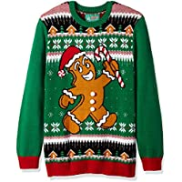 Christmas Ugly Sweater Co Mens SYP8-1910BAMZ Ugly Christmas Sweater - Xmas Gingerbread Man Pullover Sweater - Green