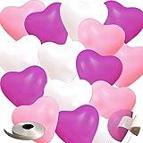 frontier 風船 ハートバルーン デコレーション セット 誕生日 飾りつけ おしゃれ (ハートバルーン100個入り(ローズ×パステルピンク×ホワイト))