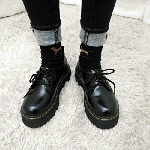 レディース 厚底靴 皮靴 パンプス 履きやすい フラット 身長アップ ひも ブラック PUエナメル調 (L(23.5cm~24cm), ブラック)