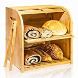 "Bamboo Bread Box, Finew 2 Layer Rolltop Bread Bin for Kitchen, Large Capacity Wooden Bread Storage Holder, Countertop Bread Keeper with Toaster Tong, 15"" X 9.8"" X 14.5"", Self Assembly"