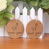 【ノーブランド品】100本 鳥 クラフト紙 タグ 結婚式 菓子屋 贈り物 ラウンド ラベル「 Thank you 」