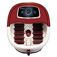 フットスパバスマッサージャー、多機能振動エアーバブル電気フットマッサージャーフット指圧足、足首、ふくらはぎ、フットバス温水スパ(10マッサージローラー、kを使用操作できません)
