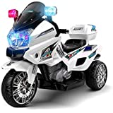 RIGO Kids Toy Ride On Car Police Motorbike Motorcycle Electric Car-White