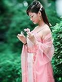 Ranpi 仙女 ! 民族衣装 かんざし 扇 セット 中国 神話 唐装 時代衣装 ドラマ 服 皇女 (ピンク, M)
