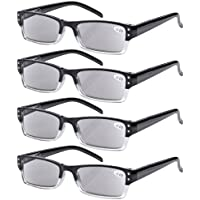 Eyekepper 4-pack Spring Hinges Rectangular Reading Glasses Sunshine Readers Grey Lens +1.00