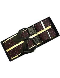 (ブレイス)Brace 6ボタン止め サスペンダー メンズ 紳士 Y型 USA Elastic WD Black Cherry Dot B142