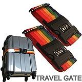 【TRAVELGATE】2個セット スーツケース ロック トランク ベルト 日本語説明書付 【3桁/ダイヤル式ロック/カギ/鍵/海外/海外旅行/出張 用】 (2個, レインボー)