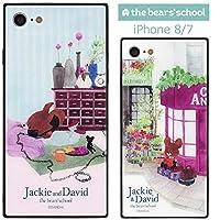 【カラー:でんわ】iPhone8 iPhone7 くまのがっこう スクエア ガラス ハイブリッド ケース キャラクター ソフトケース ハードケース ソフト ハード カバー 背面 グッズ かわいい ジャッキー くま クマ アイフォン iphone 8 7 iphone8ケース スマホケース スマホカバー s-gd_7b484