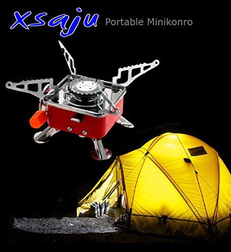 【XSAJU】 ポータブル ミニコンロ 折り畳み式 シングルバーナー 収納バッグ付き