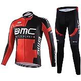 サイクルジャージ サイクルウェア 2016 上下セット メンズ 長袖 秋冬用  薄手 自転車ウェア サイクリングウェア (XL, BMC)